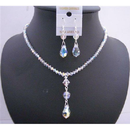 NSC542  Swarovski AB Crystals Jewelry Set Genuine Swarovski Crystals w/ Teardrop Necklace Set
