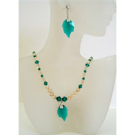 NSC446  Topaz Ceylon Swarovski Crystals & Emerald Crystals Handcrafted Jewelry
