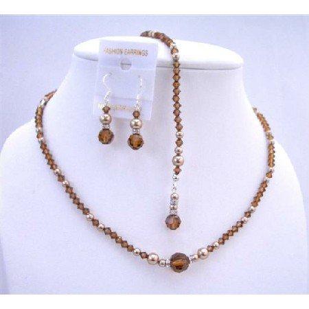 NSC602  Back Drop Crystals Pearls Necklace Jewelry Set Genuine Swarovski Crystals & Pearls