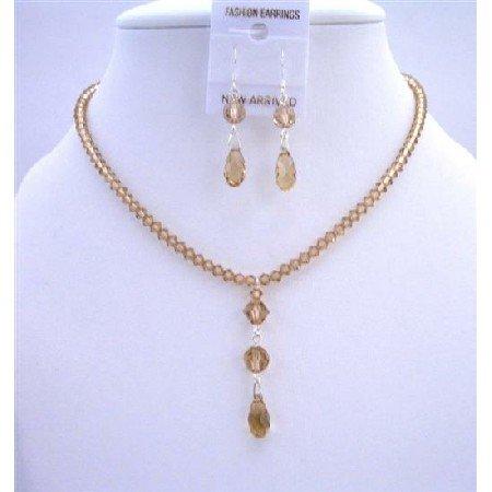 NSC586  Lite Colorado Crystals Bridemaides Jewelry Set w/ Multi Faceted Swarovski Crystals