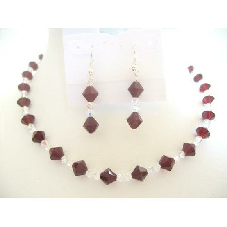 BRD488  Garnet Crystals Swarovski Garnet & Clear Crystals Bridal Bridemaides Jewelry Set