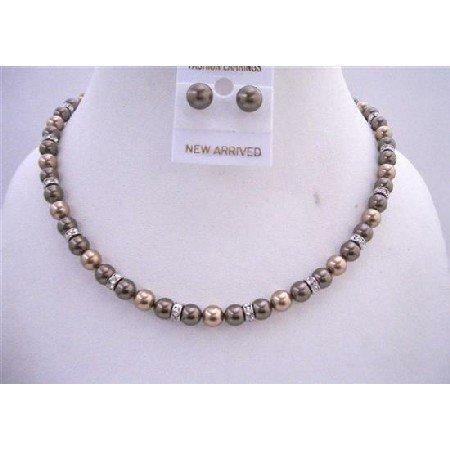 BRD618  Bronze Pearls & Brown Dark Chocolate Pearls Bridemaides Jewelry Set