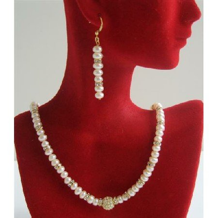 BRD628  Fine Quality Freshwater Pearls Potato Beads Necklace Set w/ Gold Rondells