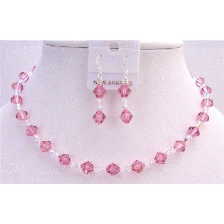 BRD759  Rose Swarovski Crystals Jewelry Set w/ Clear Crystals Bridemaids Bridal Jewelry Set