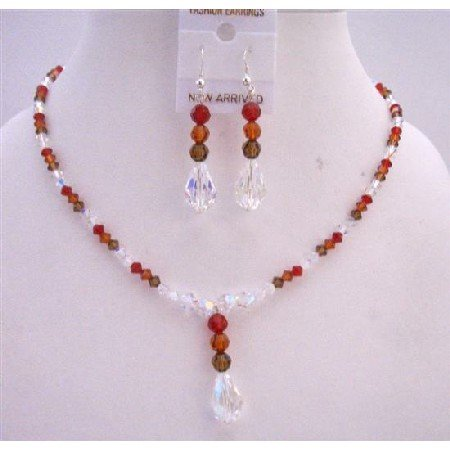BRD601  Tricolor Crystals Custom Bridemaids Jewelry Set Genuine Swarovski Crystals Handmade Jewelry