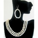 BRD584  Rice Freshwater Pearls 3 Stranded Necklace Set Bridal Bridemaids Wedding Jewelry Set