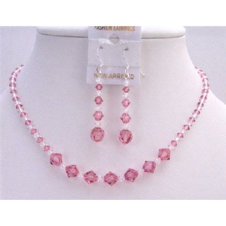 BRD780  Custom Bridemaids Bridal Jewelry Set Swarovski Rose Crystals Jewelry Set