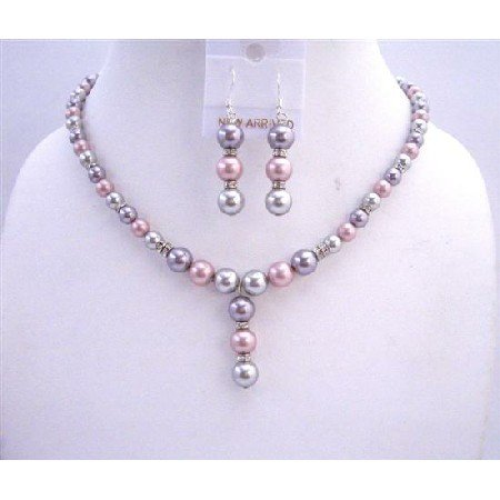 BRD656  Tri Color Bridal Jewelry Champagne Rose And Grey Pearls w/ Silver Rondells