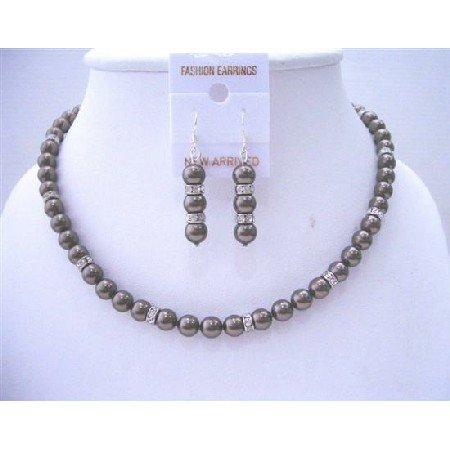 BRD500  Brown Espresso Pearls Bridemaides Jewelry Genuine Swarovski Brown Espresso Pearls