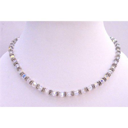 BRD688  Bridal AB Swarovski Crystals Necklace w/ Bali Silver Spacer