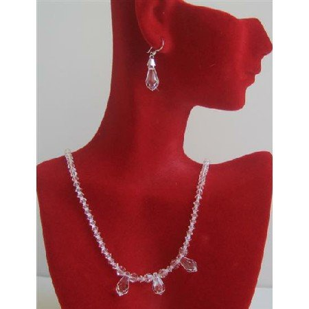BRD616 Swarovski Clear Crystals w/ 3 AB Teardrop Crystals Bridal Bridemaids Necklace Set