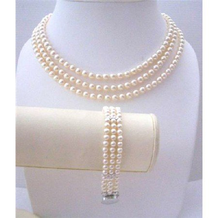 BRD572  Ivory Pearls THREE Stranded Necklace & Bracelet Beautifully Handcrafted