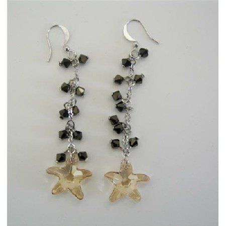 ERC254  Golden Shadow Star Swarovski Crystals w/ AB Dorado Crystals Chandelier Earrings