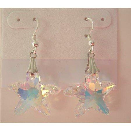 ERC292  Swarovski AB Crystals Starfish 22mm Earrings Sterling Silver AB Starfish Earrings
