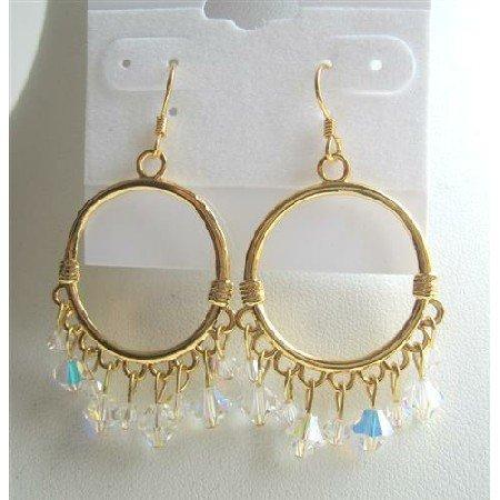 ERC306  AB Swarovski Crystals Earrings 22k Gold Plated Hoop Earrings Genuine Swarovski AB Crystals