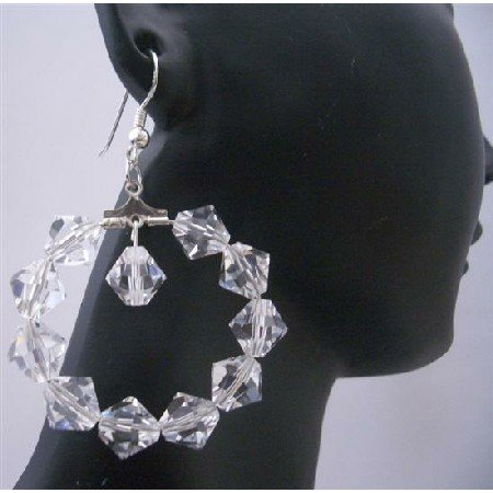 ERC300  Clear Crystals Hoop Earrings Genuine Swarovsk Clear Crystals Sterling Silver