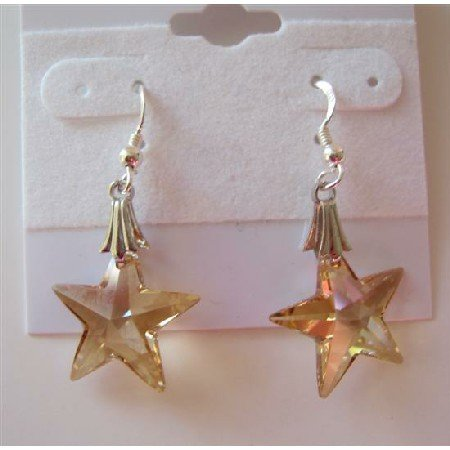ERC291  Golden Shadow Crystals Starfish Crystals Earrings 15mm Sterling Silver Earrings