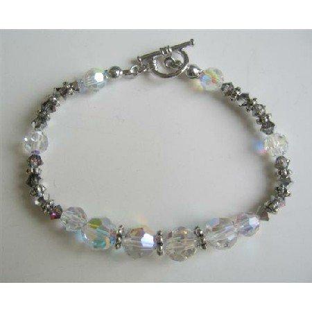 TB557  Swarovski AB And Volcano Crystals w/ Bali Silver Spacer Bracelet Bridal Bridemaids Bracelet