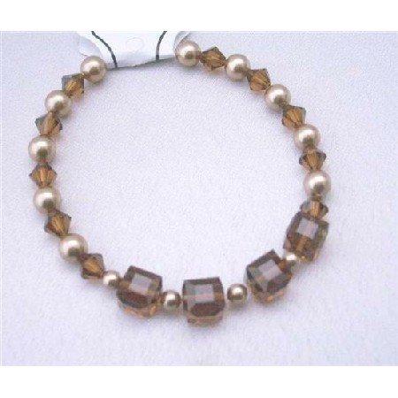 TB396  Wedding Bracelet Bronze Pearls Swarovski Smoked Topaz Crystals