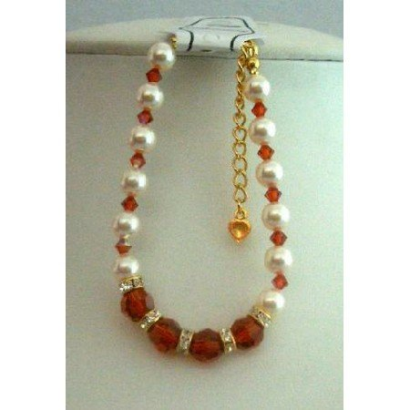TB271  Burnt Orange Swarovski Crystals Bracelet w/ Swarovski Cream Pearls & Gold Rondells