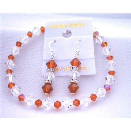 TB410  Bridemaides Bracelet & Earrings Set w/ Genuine Swarovski Burnt Orange & Clear Crystals