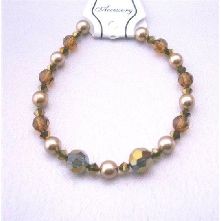 TB397  Irridescent Crystals Wedding Bracelet Espresso Crystals Dorado Smoked Topaz