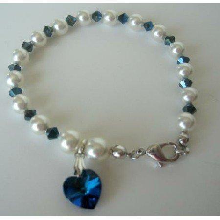 TB276  Swarovski Metallic Sapphire Crystals Heart Bracelet Genuine Swarovski White Pearls Crystals