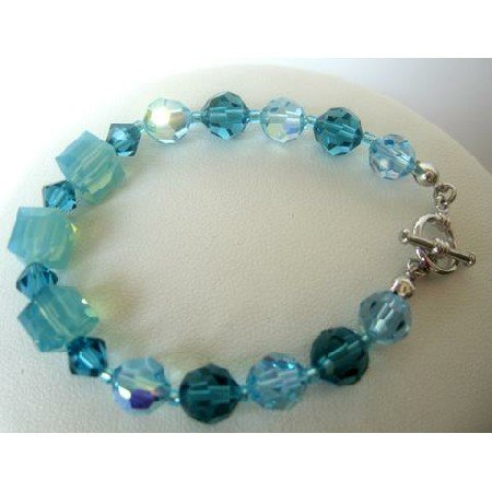 TB278  Aquamarine & Indicolite Crystals Bracelet Swarovski Crystals Bracelets Handcrafted