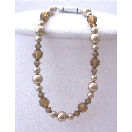TB399  Bridemaides Bronze Pearls Brown Crystals Bracelet Swarovski Bronze Pearls Smoked Topaz