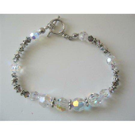 TB358  AB Swarovski Crystals Bracelet w/ Volcano & Bali Silver Beads Toggle Clasp Bracelet