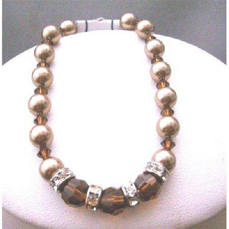 TB395  Bronze Pearls Bracelets Swarovski Smoked Topaz Crystals Bridemaides Bracelets