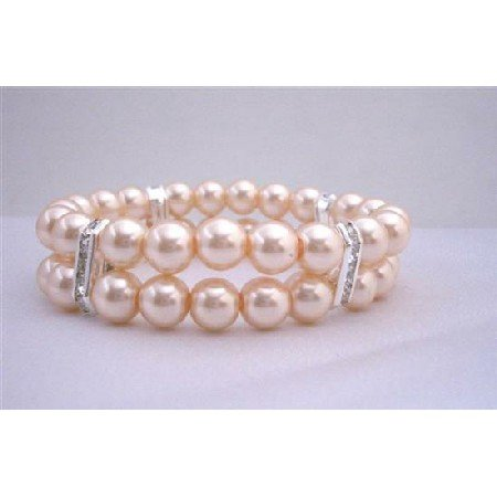 TB324  Peach Pearls Stretchable Bracelet Double Stranded Bracelets