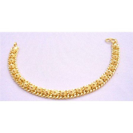 TB216  Flower Designed Gold Bracelet Very Beautiful Gold Plated Bracelet 7 1/2 inches Long Bracelet