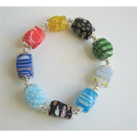TB607  Colorful Millefiori Beads Stretchable Bracelet w/ Bali Silver Spacer Bracelet