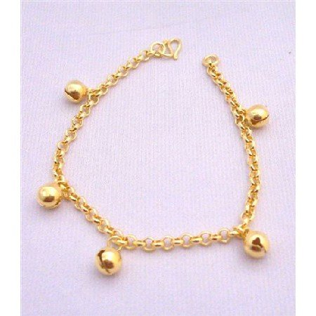 TB005  Chained Bracelet w/ Ball Dangling Gold Plated Bracelet Gold Chained Sleek Dainty Bracelet
