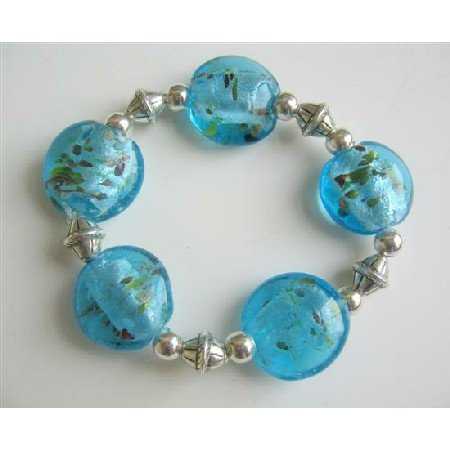 TB545  Ethnic Bali Silver Spacer Millefiori Bracelet Oval Blue beaded Stretchable Bracelet