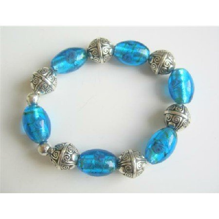 TB540  Handmaed Millefiori Beads Stretchable Bracelt Painted Beads Traditional Jewelry Bracelet
