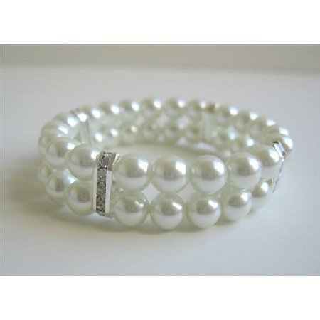 TB600  White Pearls Double Stranded Stretchable Bracelet w/ Silver Rondells