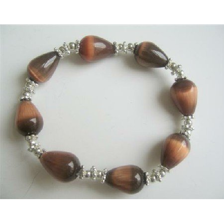 TB568  Brown Teardrop Stretchable Bracelet Classy Brown Cat Eye Stretchable Bracelet
