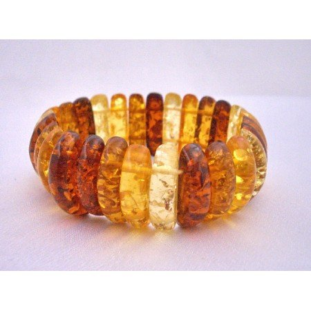 TB587  Amber Natural Color Stretchable Bracelet Simulated Amber Oval Beads Stretchable Bracelet