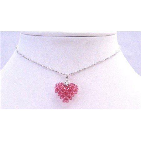 NSC675  Rose Dainty Delicate Puffy Heart Pendant Necklace
