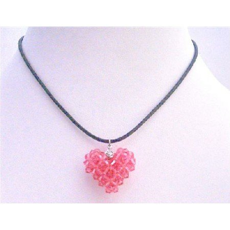 NSC669  Rose Puffy Heart Pendant Necklace Swarovski Crystals Puffy Heart Pendant Handmade Pendant