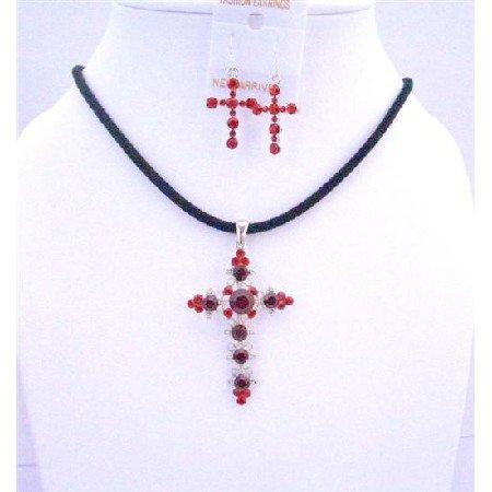NSC577  Siam Red Light & Dark Cross Cross Pendant Earrings Jewelry Set