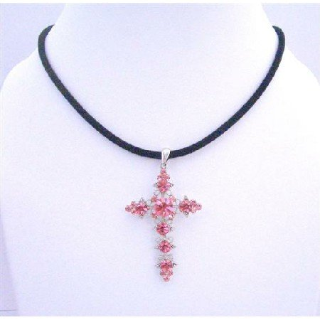NSC576  Pink Crystals Cross Pendant Necklace Velvet Black Chord Necklace