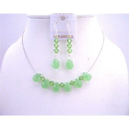 NSC512  Peridot Quartz Glass Beads w/ Swarovski Peridot Crystals Bridal Bridemaids Jewelry Set