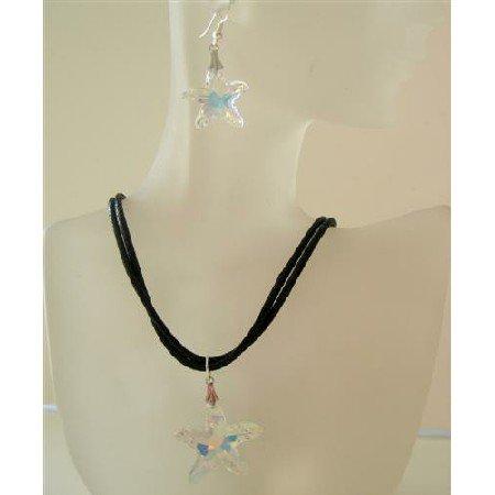 NSC477  AB Star Fish Crystals Star Pendant Jewelry Set Genuine Swaovski AB Crystals