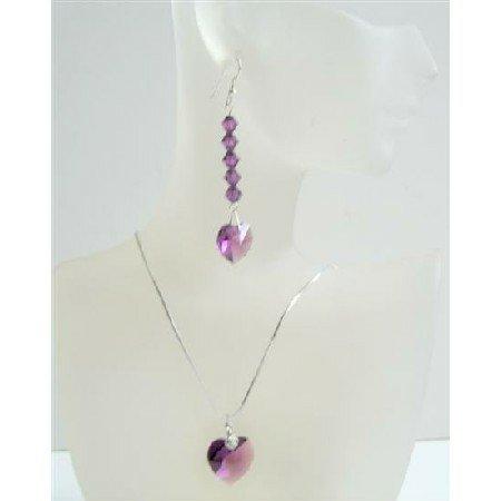 NSC530  Romantic Jewelry Amethyst Swarovski Crystals Heart Pendant & Earrings Heart Jewelry Set