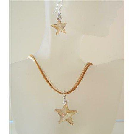 NSC483  Golden Crystals Star Jewelry Set Golden Shadow Crystals Star Pendant Swarovski