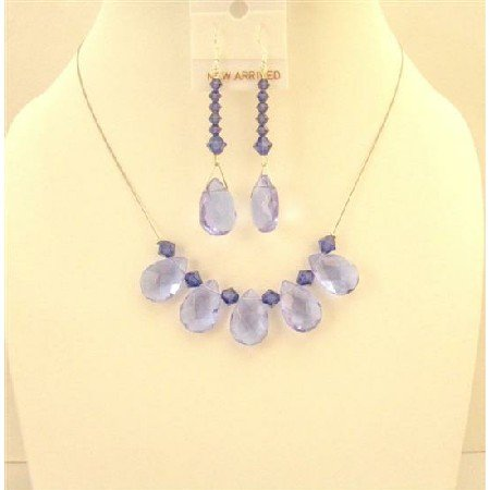 NSC583  Purple Glass Teardrop Necklace Swarovski Purple Velvet Crystals Bridemaids Jewelry Set