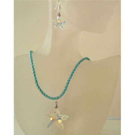 NSC482  Crystals Star Pendant Necklace Swarovski AB Crystals Star Pendant Jewelry Set